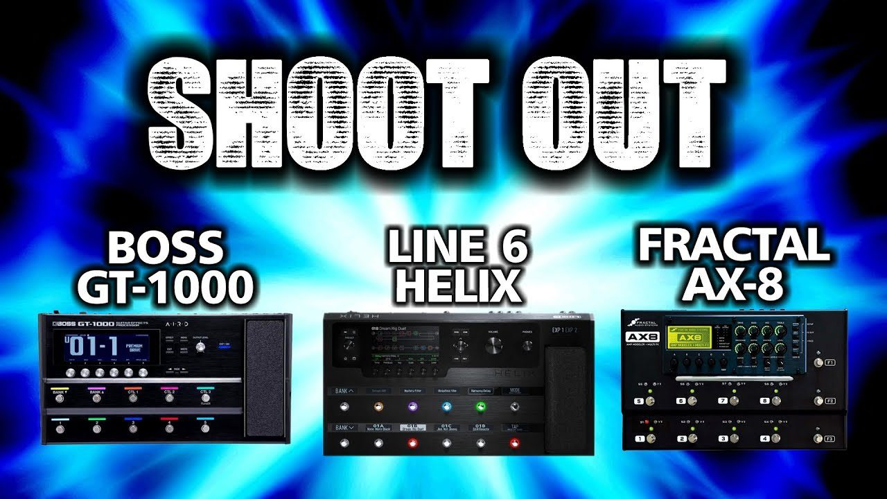 Boss GT-1000 VS Line 6 Helix VS Fractal AX8 SHOOT OUT #2 - Guitar